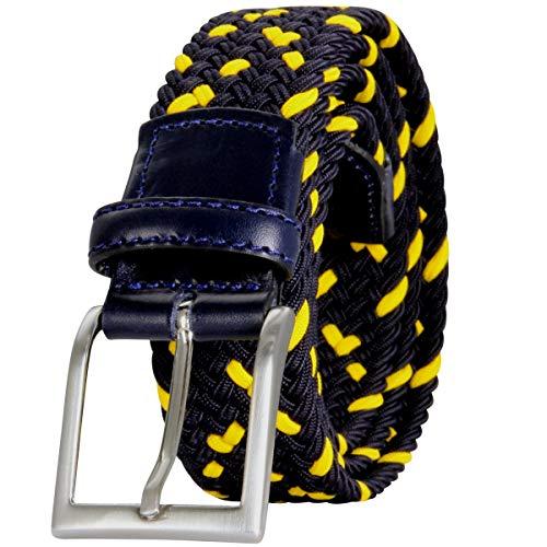 LINDENMANN Gürtel Herren Ledergürtel Herren/Gürtel Herren, Flechtgürtel Herren, marine-gelb, Farbe/Color:blau, Size US/EU:Waist Size 41.5 IN XL EU 105 cm