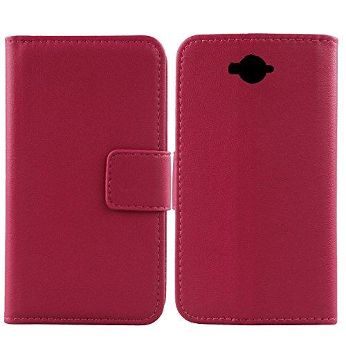 Gukas Design Echt Leder Tasche Für Doogee Homtom HT10 Hülle Handy Flip Brieftasche mit Kartenfächer Schutz Protektiv Genuine Premium Hülle Cover Etui Skin (Rosa)