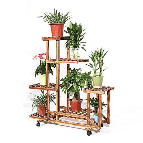 フラワースタンド 木製 キャスター付き フラワーラック ガーデンラック 花台 植物棚 植木鉢 プランター 盆栽 棚 ガーデニング 室内/屋外/ベランダ