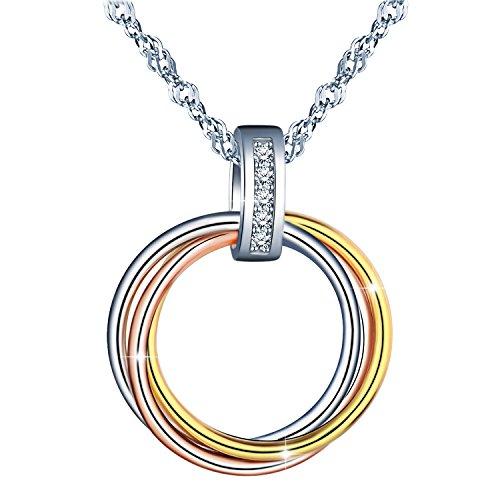 MicLee 925 Sterling Silber Zirkonia Ineinander Verschlungen Ringe Halskette Anhänger