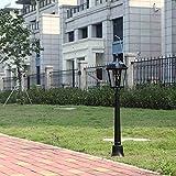 Light, Retro Park Outdoor IP55 Lámpara de Columna de Vidrio Impermeable Césped Villa Luces Linterna Antigua Paisaje Poste Alto Jardín Patio E27 Decoración Lámpara de Columna Farola, Negro