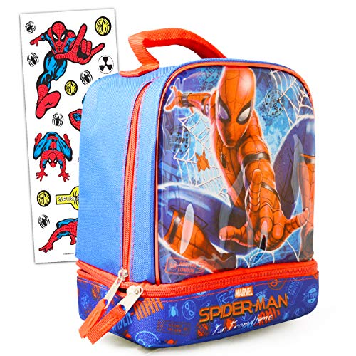 Spiderman Lunch Box Kit Bundle ~ Spiderman Insulated Lunchbox with Spiderman Stickers for Kids Boys Girls (Spiderman School Supplies)