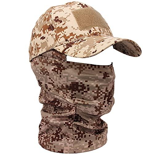 AQzxdc Tactical Hat Army Camo Cap, Sommer Unisex Sport Running Baseball Cap, mit Quick Dry Balaclava, für Airsoft Paintball Climb Camping Jagd Outdoor Angeln,Digital