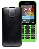 Original Favory Etui Tasche für / Nokia 215 Dual SIM / Leder Etui Handytasche Ledertasche Schutzhülle Hülle Hülle Lasche mit Rückzugfunktion* in Schwarz