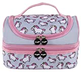 Fringoo® Multi-compartment Kids Lunch Bag Thermal Insulated Cooler Bag School Nursery Double Decker Food Snacks Carrier (Chubby Unicorn)
