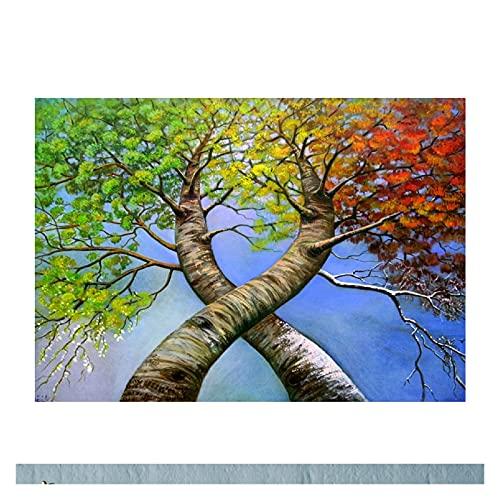 Pintura de Bricolaje por números para Adultos Principiante -Paint por Pegatinas para niños Edades 4-8 - Ideas de Regalos del día de los Padres -Ross - Paisaje de árbol (Size : 50x60cm)