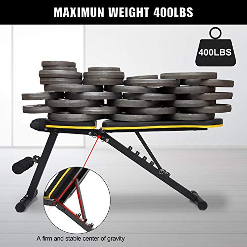Figolo Workout Bench, Adjustable Weight Bench with Wider Backrest/Seat for Full Body Workout Home Gym Strength Training Press bench with Easy Folding [2021 New Version]