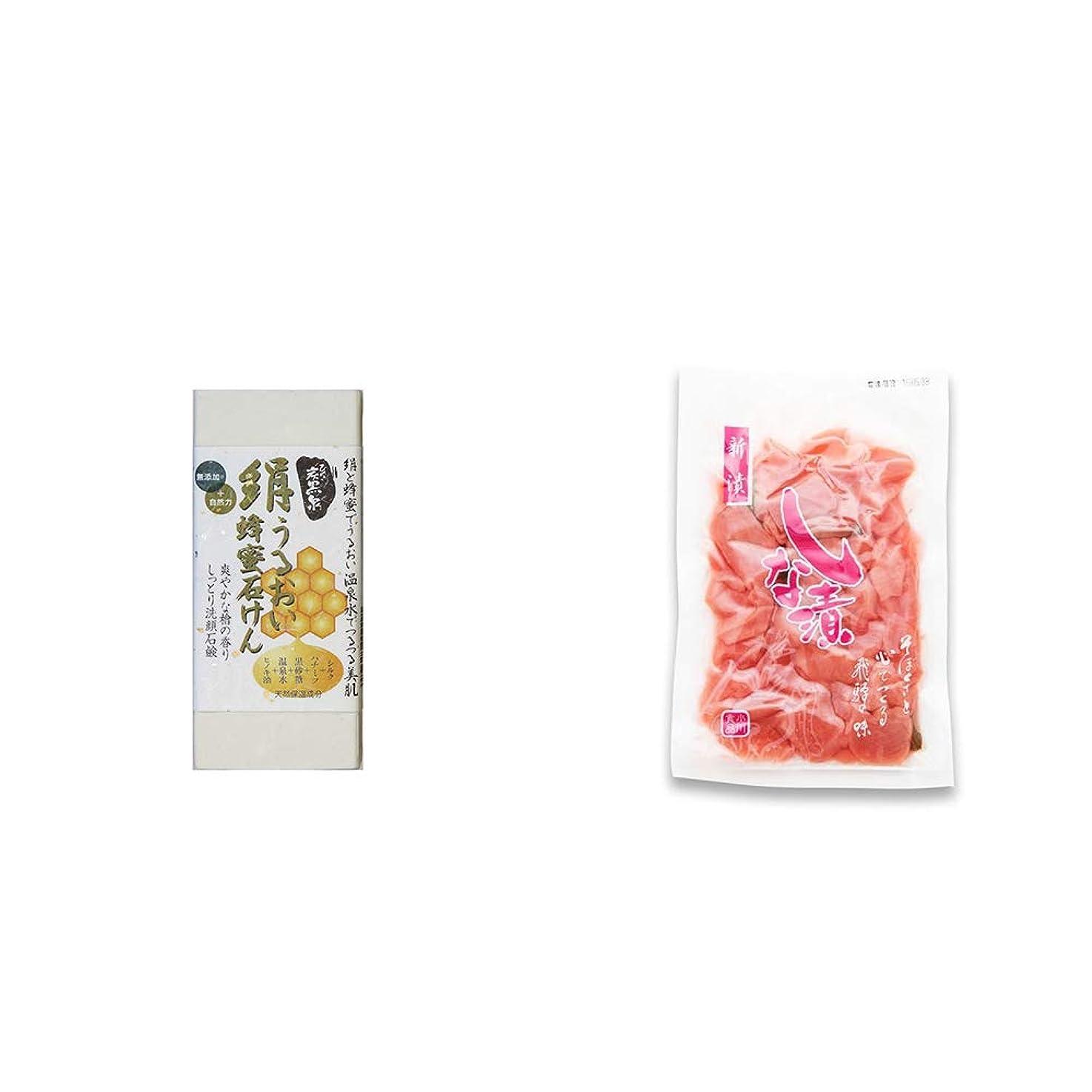 レンズ日焼け厳しい[2点セット] ひのき炭黒泉 絹うるおい蜂蜜石けん(75g×2)?しな漬け(160g)