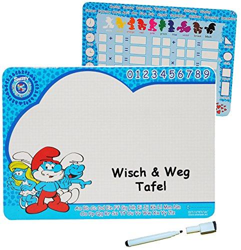 alles-meine.de GmbH 2 seitig _ Wisch & Weg - Tafel - Memoboard / Stundenplan / Notizplan -  die Schlümpfe  - abwischbar incl. Folienstift - Schlumpf Kinder Memotafel - Schreibt..