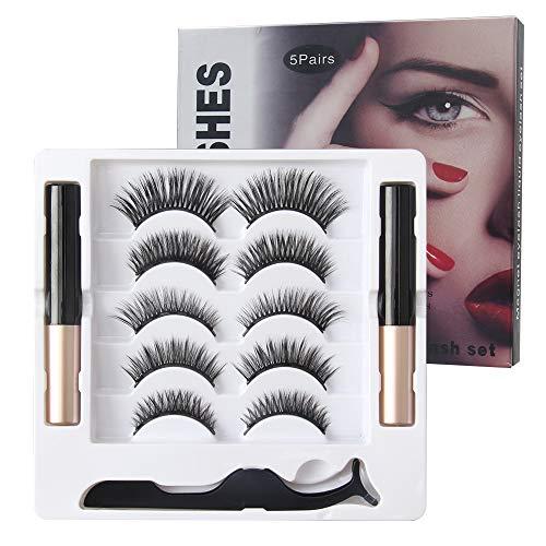 Magnetische Wimpern 3D Falsche Eyelashes Wiederverwendbar 5 Paare Magnetische Wimpern Magnetic Eyeliner Kit mit Pinzette wasserdicht langlebig