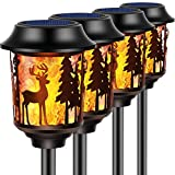 TomCare Solar Lights Metal Flickering Flame Solar Torches Lights Decorative Outdoor Lighting Waterproof Heavy Duty Outdoor Solar Pathway Lights Landscape Lighting for Garden Patio Yard, 4 Pack