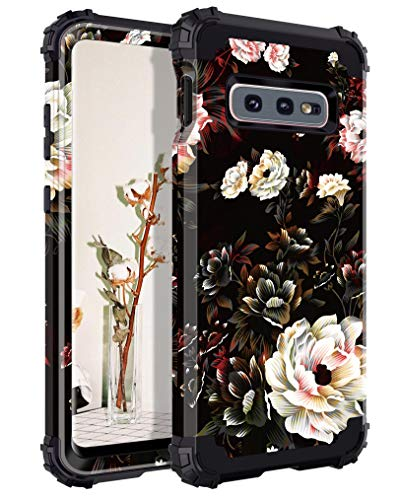 Lontect for Galaxy S10e Case Floral 3 in 1 Heavy Duty Hybrid Sturdy High Impact Shockproof Protective Cover Case for Samsung Galaxy S10e, Flower/Black