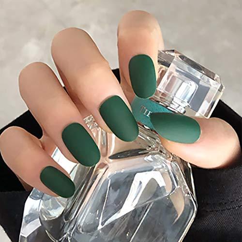 Fairvir Künstliche Fingernägel, matt, grün, oval, vollständige Abdeckung, arzyklisch, für den täglichen Gebrauch, Party, Abschlussball, zum Andrücken, für Frauen und Mädchen, 24 Stück