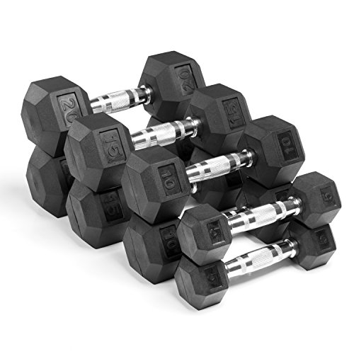 XMark 100 Pound Set (Option 1) of Hex Dumbbells, Premium Quality, Rubber Coated with Chrome Contoured Handles