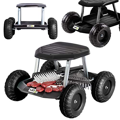 UPP Gartenwagen schwarz bis 130 Kg belastbar - knieschonend - Sitzhöhe bei 33cm - Rollsitz Gartenhelfer für rückenschonendes Arbeiten - Rollwagen mit breiten, Werkstattwagen