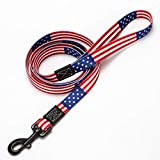 American Flag Dog Leash in 3 Different Sizes (Leash M 4/5' Wide 5ft)