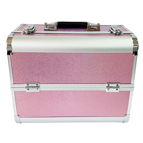 DLMYZ Makeup Box Cosmetics Case Jewelry Organiser Vanity Make Up Storage Box Beauty Train Case Lockable with Keys,Pink