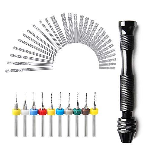 XuSha 57PCS Cobalt Steel Hand Drill Bits Set include 46 pieces 0.3-3.0mm Twist Drill,10 pieces 0.1-1.2mm Color PCB Drill, Black Pin Vise Hand Drill