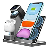 Aluminum Alloy Wireless Charger. ZIKU 3 in 1 Wireless Charging Stand Station Dock for Airpods Apple Watch 5/4/3/2 iPhone SE /11/ pro mas X/XS/XR/Xs Max/8/8 Plus- Include 18W USB-C Charger (Gray)