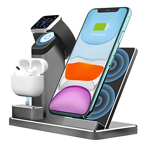 Aluminum Alloy Wireless Charging Stand ZIKU 3 in 1 Wireless Charger Fast Charging Dock Station for Airpods Pro Apple Watch 6/5/4/3/iPhone 11/ pro mas X/XR/Xs Max/8/ Plus (Adapter Included)
