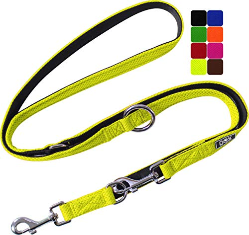 DDOXX Hundeleine Air Mesh, 3fach verstellbar, 2m | für kleine & große Hunde | Doppel-Leine Zwei Hund Katze Welpe | Schlepp-Leine groß | Führ-Leine klein | Lauf-Leine Welpen-Leine | Gelb, XS