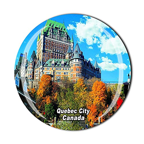 Imán para nevera en 3D con diseño de ciudad de Quebec de Canadá y cristal de recuerdo de cristal para coleccionar recuerdos para el hogar o la cocina