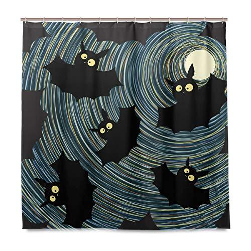 MNSRUU Fledermaus-Muster, 183 x 183 cm, Duschvorhang mit Haken, Polyester-Stoff, dekoratives Badezimmer, wasserdicht, schimmelfest für Zuhause & Hotel