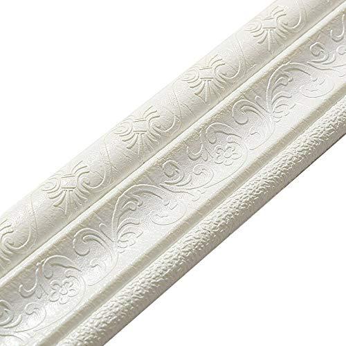 JieHED - Bordo per battiscopa, motivo 3D, striscia adesiva impermeabile per la casa, in PVC, autoadesiva, per battiscopa impermeabile, 2,3 x 8 cm bianco