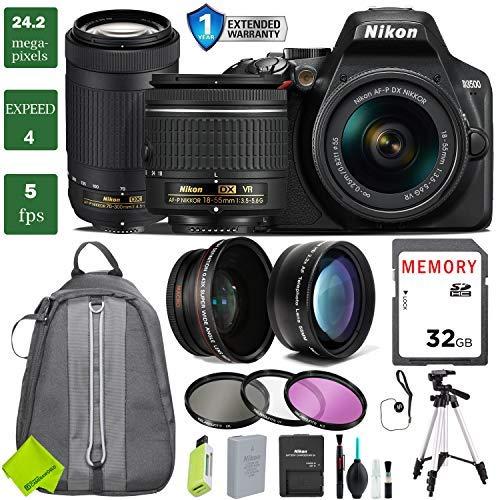 Nikon D3500 DSLR Camera with 18-55mm Lens Bundle 3 (18-55mm VR & Nikon 70-300mm, Extended Bundle 1)