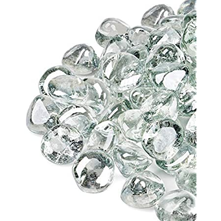 Clear Luster 1inch Reflective Glass for Fire Pit and Landscaping GASPRO 10lb Fire Glass Diamonds