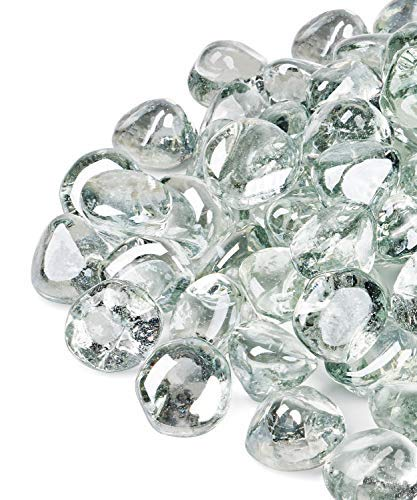 GASPRO 20lb Fire Glass Diamonds - Clear Luster 1inch Reflective Glass for Fire Pit and Landscaping