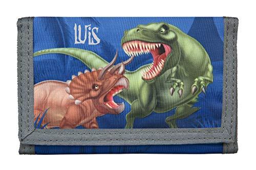 Geldbörse mit Namen für Jungen | Motiv Dinosaurier T-Rex inkl. Namensdruck | Bedruckt & personalisiert | Geldbeutel Kindergeldbeutel Portmonee Klarsichteinschub Klettverrschluss Münzfach