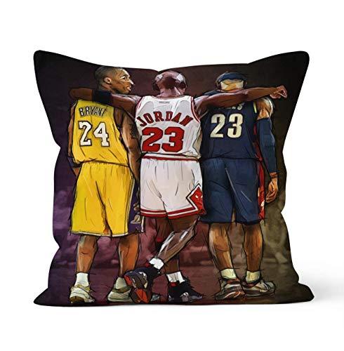 Fundas de almohada decorativas de doble cara con cierre de cremallera oculta,regalo de leyendas de la NBA MVP del juego de baloncesto,James,Kobe y Jordan 45 cm x 45 cm