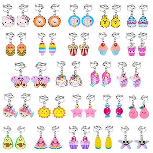 Bevan 12/19/20/24/30 Pairs Hypoallergenic Acrylic Clip-on Earrings Cute Multiple Animal Mermaid Butterfly Alpaca Earrings Dangle Earring Play Jewelry for Little Girls