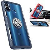 Xiaomi Mi 8 Transparent Case,360° Rotating Ring Kickstand Protective Case,TPU+PC Shock Absorption Double Protection Cover Compatible with [Magnetic Car Mount] for Xiaomi Mi 8 Case (Navy/Silver)