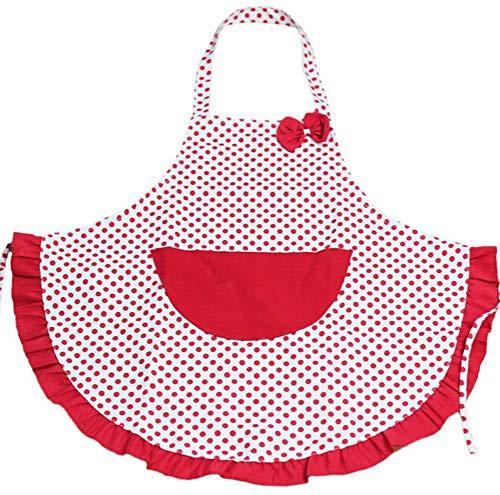 Eastery Küche Schürze Grillschürze Mit Red Dots Muster Mit Taschen Aus Einfacher Stil Baumwolle Für Mutter Frau Freundin Tochter Schwester (Color : Colour, Size : Size)