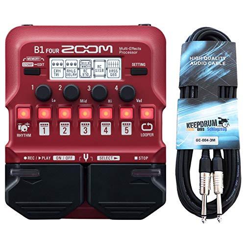 Zoom B1 FOUR Multi-Effektgerät für Bass + keepdrum Klinkenkabel 3m