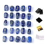 TGS Gems Lot de pierres de rune en lapis-lazuli avec lettrage païen gravé avec livret d'instructions et pochette en velours
