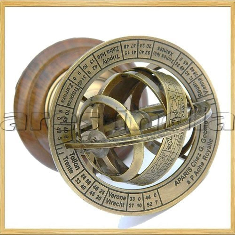 Arsh Nautical Ares India 5  Nautical Brass Armillary Sphere World Globe pinkwood Base Table Decor Gift