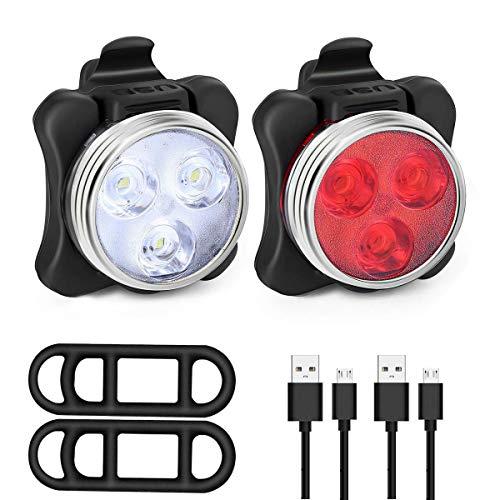 Achort Juego de luces LED para bicicleta, recargables por USB, luces traseras, luces traseras para bicicleta, impermeables, combinaciones de faros traseros, 120 lm, 4 modos de luz, batería de 650 mAh
