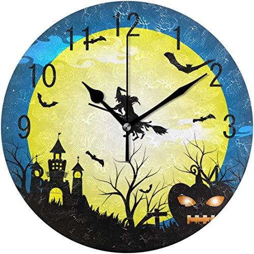 ALLdelete# Wall Clock Wohnkultur Halloween Hexe Schloss Kürbis Fledermaus Mond Nacht Baum Runde Wanduhr Nicht tickend Stille Uhr Kunst für Wohnzimmer Küche Schlafzimmer