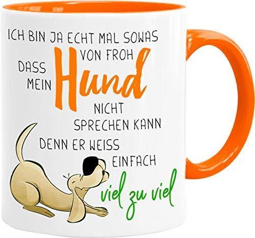 Cadouri Hunde-Tasse MEIN HUND WEISS ZU VIEL┊Kaffeetasse Bürotasse mit Spruch┊tolle Geschenkidee für Hundeliebhaber
