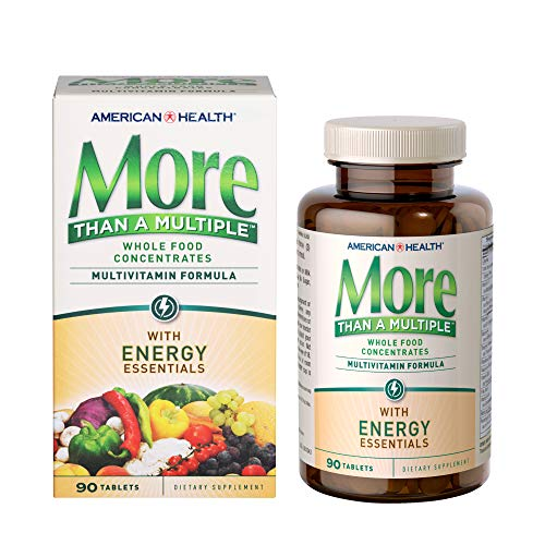 American Health More Than A Multiple with Energy Essentials Multivitamin - Whole Food Supplement with B-Vitamins and Energizing Herbal Blend - Gluten-Free - 90 Tablets, 30 Total Servings