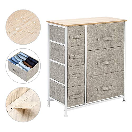 Anpay 7 Drawer Fabric Dresser Storage Tower, Dresser Chest with Wood Top and Easy Pull Handle, Organizer Unit for Closets, Bedroom, Nursery Room, Office