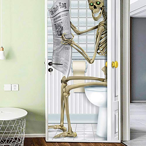 Door Wall Sticker Halloween Reading Newspaper Creative 3D Door Stickers Wooden Door Home Decoration Wall Stickers