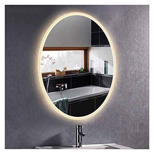 JKFZD Espejo de Pared, Espejo de Tocador Ovalado con Iluminación LED, Función Antiniebla/Interruptor Táctil/Pantalla de Tiempo (Color : Warm Light, Size : 50x70cm)