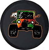 JL Series Jeep Spare Tire Cover with Backup Camera Hole Jeep Paw Prints Peace Love Tiedye Black 33 in