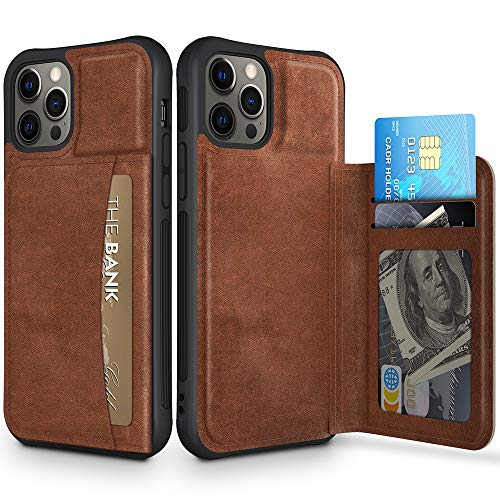 Caka iPhone 12 Pro Max Case, iPhone 12 Pro Max Wallet Case with Card Holder Credit Card Slot Holder for Men Leather TPU Protective Shockproof Magnetic Closure Case Cover for iPhone 12 Pro Max (Brown)