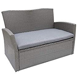 EFFORTLESS CARE - Handwoven PE Rattan is easily cleaned with a damp cloth. Heavy Duty solution dyed polyester cushion STRONG METAL FRAME- Constructed from durable EPP powder coated steel DIMENSIONS - 128cm (W) x 72cm (D) x 78cm (H) approximately. For...