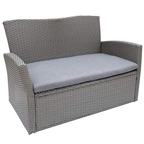 C-Hopetree Outdoor Loveseat Sofa Chair for Outside Patio or Garden, All Weather Wicker with Cushion, Grey